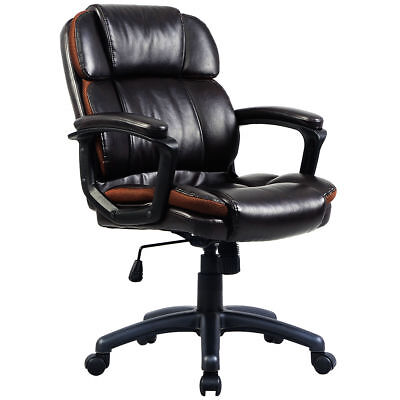 Ergonomic Pu Leather Mid-back Executive Computer Desk Task Office Chair