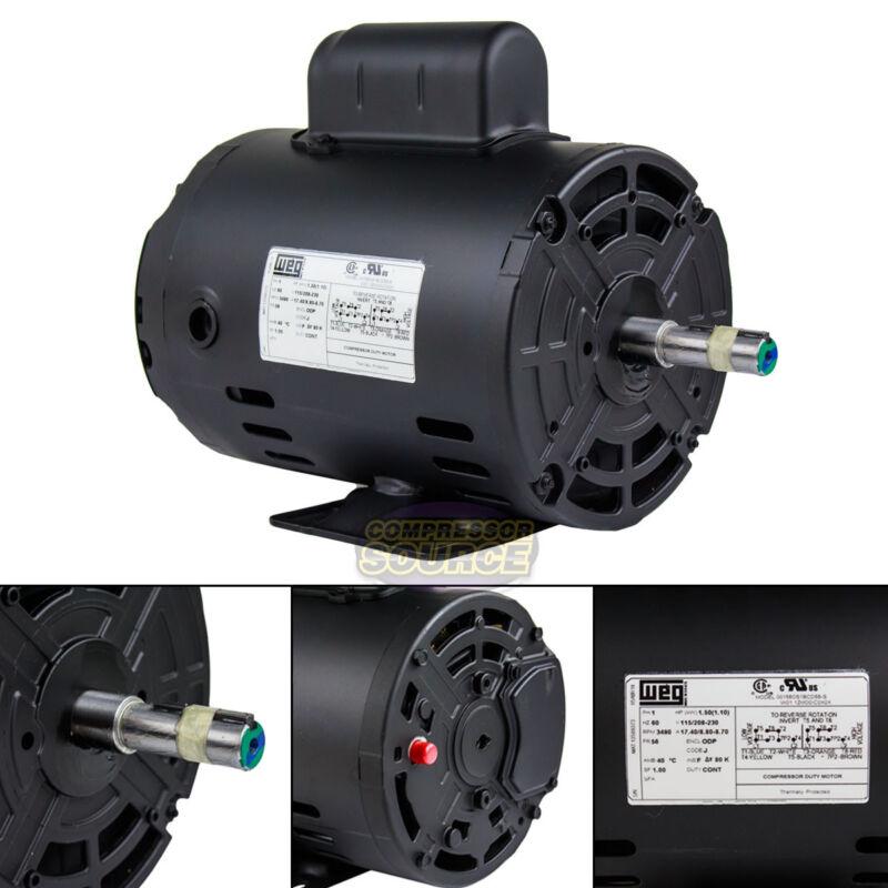 1.5 HP Electric Motor Air Compressor Duty 56 Frame 3490 RPM Single Phase WEG New