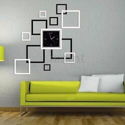 DIY 3D Square Wall Clocks Sticker Mirror Removable Decal Art Mural Home Decor US