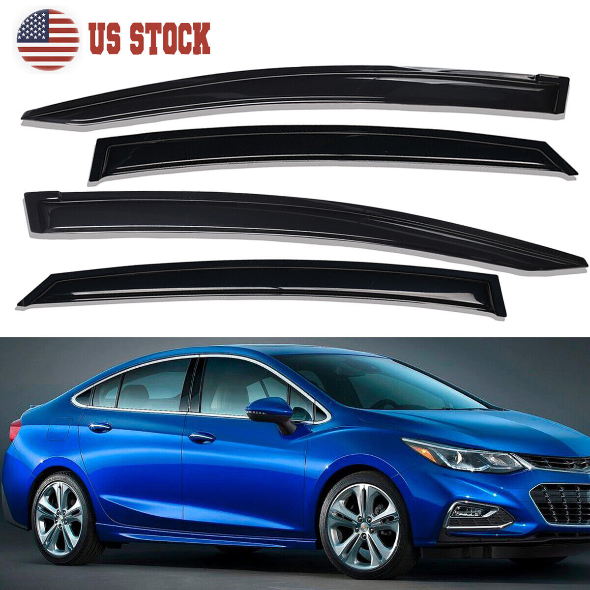 Lightronic WV94712 Tape-on Window Visors Rain Guards Smoke Tint 4PCS Set Fit for 2016-2019 Chevy Cruze Excludes Classic Model