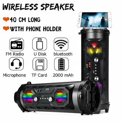 LED bluetooth Speaker Wireless FM Stereo Loud Bass Subwoofer Aux USB TF Boombox