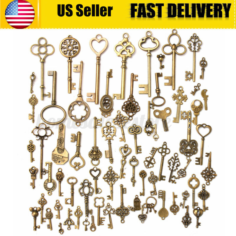 70Pcs Antique Vintage Old Look Bronze Skeleton Keys Fancy Heart Bow Pendant
