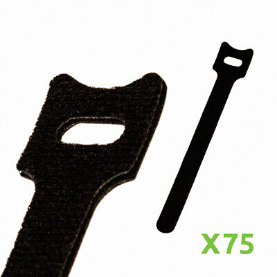 6 Inch Hook And Loop Reusable Strap Cable Cord Wire Ties 75 Pack Black