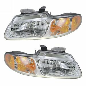 Headlights Headlamps Left & Right Pair Set for 96-99 Dodge Grand Caravan Voyager