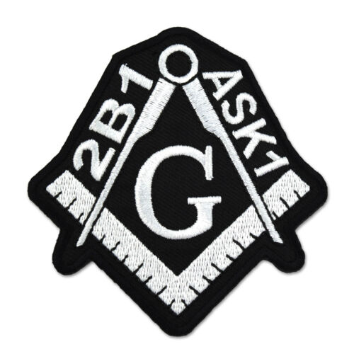 2B1 ASK1 Square & Compass Embroidered Masonic Patch - [Black & White][3