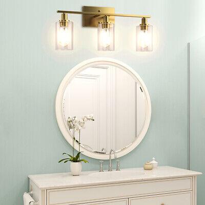 3-Light Wall Sconce Modern Bathroom Vanity Light Fixtures w/Clear Glass Shade