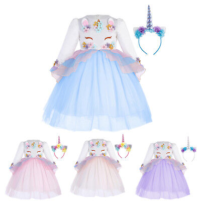 Unicorn Girls Dress Cosplay Party Costume Easter Carnival Fancy Clothes for Kids](Easter Clothes For Kids)