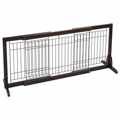 Wood Pet Pen - Slide Wood Dog Gate Pet Fence Playpen Adjustable Indoor Free Stand Safety Solid