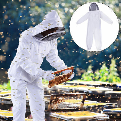 Bee Keeper Suit Beekeeping Full Body Protection Outfits w/Veil Hood Sting Proof - Sting Outfit