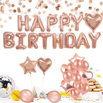 Rose Gold Balloons Happy Birthday Party Complete Set with 23 Balloons Total