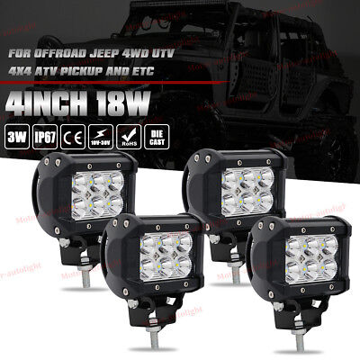 Led fog light barebay 1 4x 4inch 18w cree led work light bar pods spot cube offroad fog suv atv ute mozeypictures Image collections
