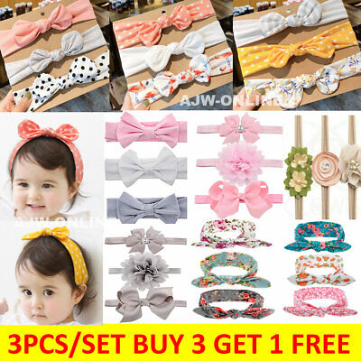 3pcs Baby Girl Headband Ribbon Elastic Headdress Kids Hair Band Newborn Bow UK