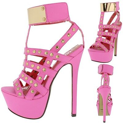 Studded Ankle Cuff (Red Kiss Cover Girl Neon Pink Ankle Cuff Studded Cage Cut Out Platform Shoe)