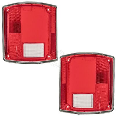 Tail Light Tail Lamp Lens w/chrome Bezel Trim Pair Set for 73-91 GM Pickup Truck - Tail Light Bezel Set