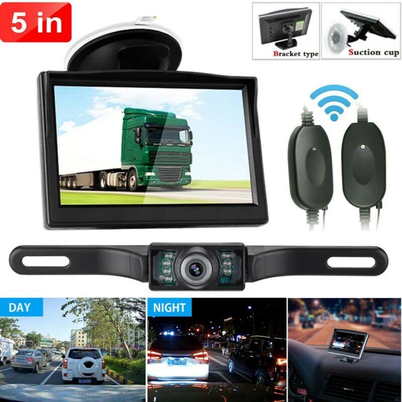 "Backup Camera Wireless Car Rear View HD Parking System Night Vision + 5"" Monitor"