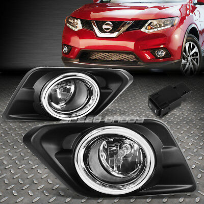 FOR 14 16 NISSAN ROGUE CHROME LENS OE DRIVING PAIR FOG LIGHT LAMPSWITCHBEZEL