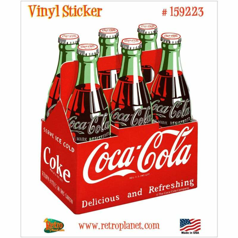 Coca-Cola Classic Bottles 6 Pack 1950s Vinyl Sticker