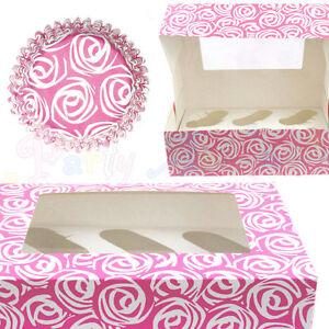 Culpitt-PINK-ROSE-Cupcake-CASES-and-Display-BOXES-Baking-Muffin-Bun-Cake