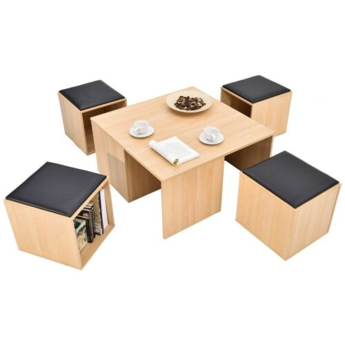 5PCS Wooden Table Dining Set with 4 Storage Ottoman Stools C