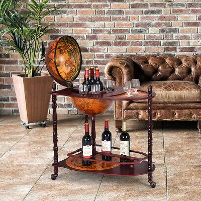 "Wood Globe Wine Bar Stand 34"" H 16th Century Italian Rack Liquor Bottle Shelf"