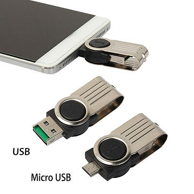 OTG Micro USB to USB 2.0 Micro SD TF Card Reader Adapter For Android Phone NEW