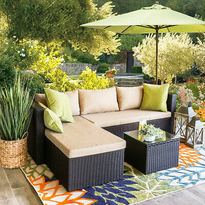 Garden Furniture - 3PC Patio Rattan Wicker Sofa Cushioned Couch Furniture Outdoor Garden Birdsong