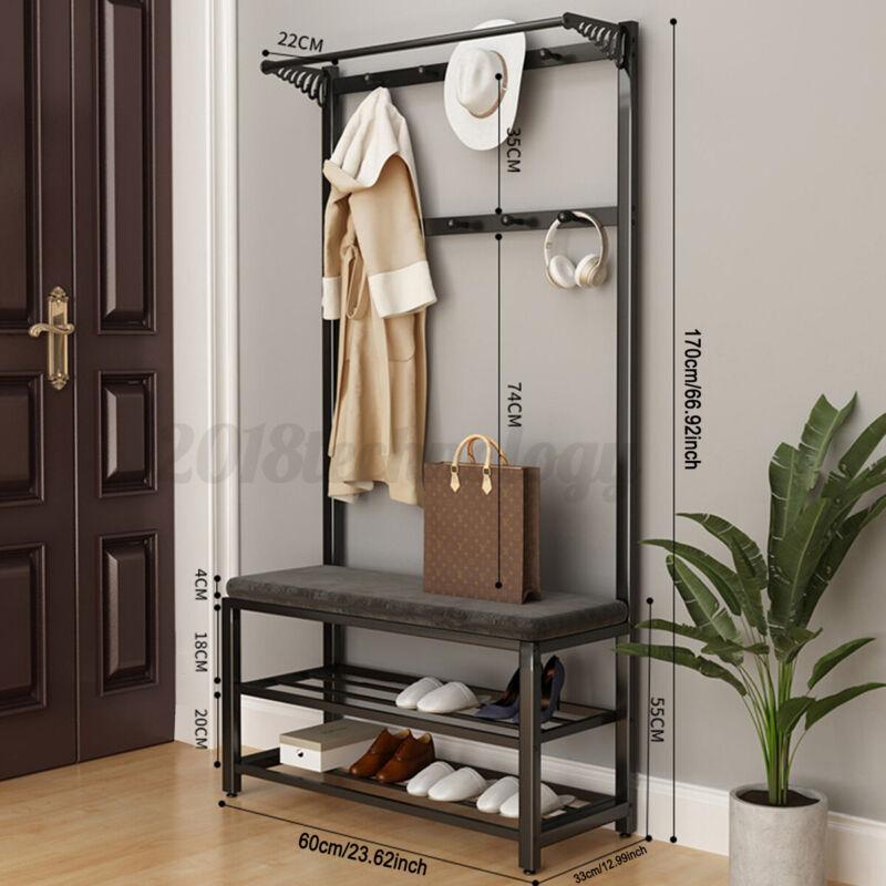 60cm Standing Coat Hat Rack Shelf Clothes Shoe Bench Bag Hanger Storage Holder