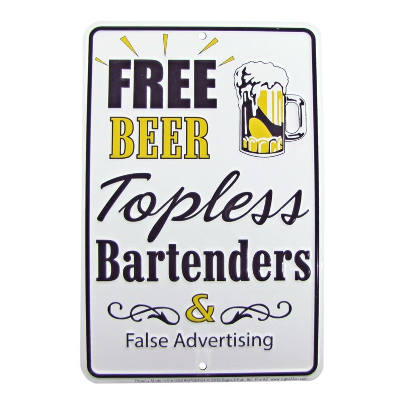 Free Beer/Topless Bartenders Funny Tin Embossed Sign Bar/Pub/Man Cave Wall Decor