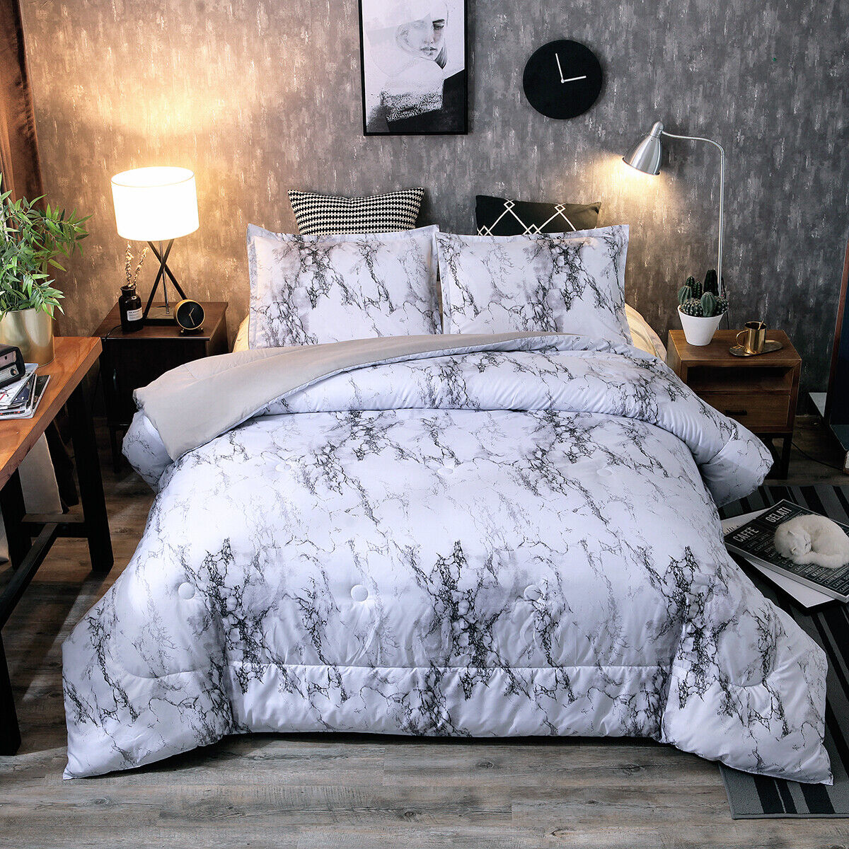 Ultra Soft Down Alternative Gray Marble Comforter Set Queen