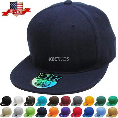 - Premium Solid Fitted Cap Baseball Cap Hat, Flat Bill / Brim NEW