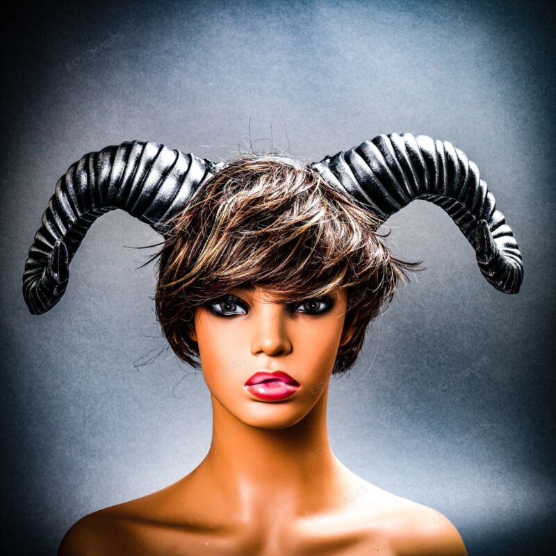Gothic Ram Horns Headband Goat Animal Headgear Halloween Cosplay Party Silver