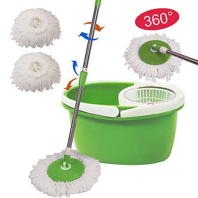 360  Rotating Head Easy Magic Floor Mop Bucket 2 Head Microfiber Spinning Green