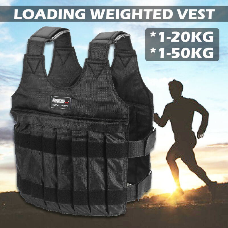 44/110lbs Adjustable Weighted Vest Training Fitness Workout Exercise Jacket Gym