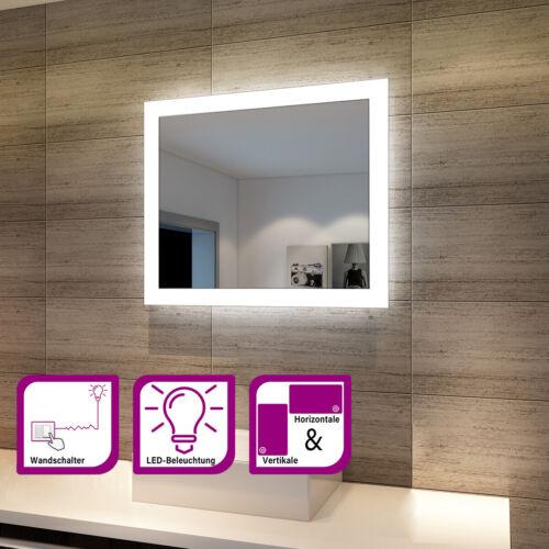 Badspiegel mit LED Beleuchtung Wandspiegel Badezimmerspiegel Lichtspiegel 60x50