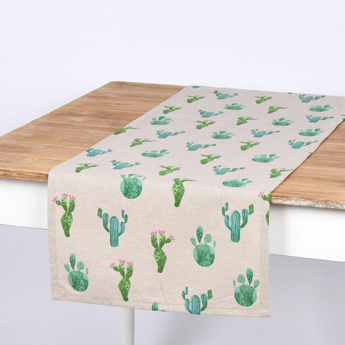 SCHÖNER LEBEN. Tischläufer Kaktus natur grün 40x160cm