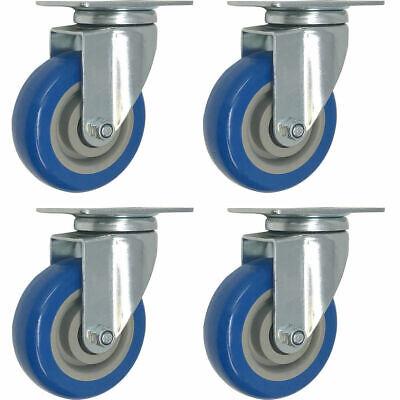 Caster Wheels Swivel Plate Blue Polyurethane Wheels