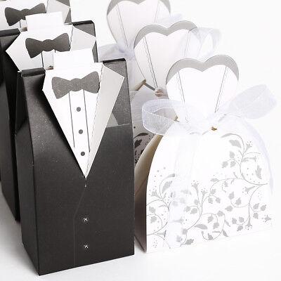 100-200pcs Wedding Favor Boxes Dress Tuxedo Party Candy Gift Bride Groom Shower Bride Groom Favor Boxes