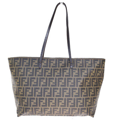 Authentic FENDI Zucca Pattern Shoulder Tote Bag PVC Leather Brown Italy 80MA376