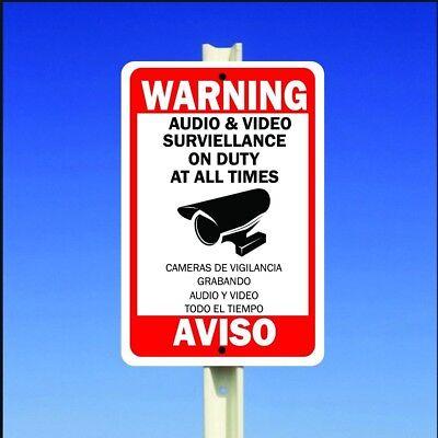 Warning Security Audio Video Surveillance Camera Aluminum Sign English Spanish