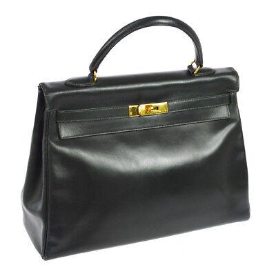 Auth HERMES KELLY 35 Retourne Hand Bag Dark Green Box Calf Vintage France F02737