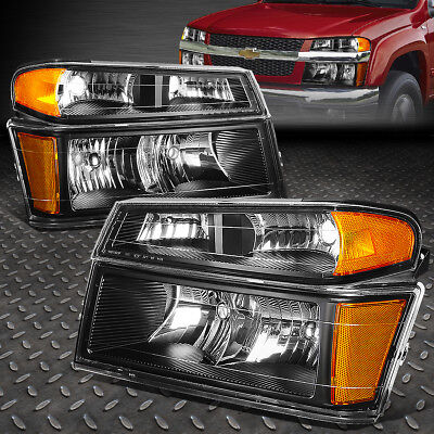 FOR 2004-2012 CHEVY COLORADO PAIR BLACK HOUSING AMBER SIDE HEADLIGHT/LAMP SET