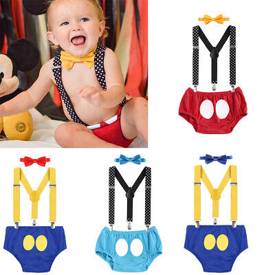 Boy Mickey Mouse Birthday Cake Smash Suspenders Pants 3PCS Photo Clothes - Mickey Mouse Smash Cake
