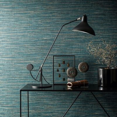Grasscloth Saffiano Wallpaper Deep Teal Blue Paste The Wall Embossed -