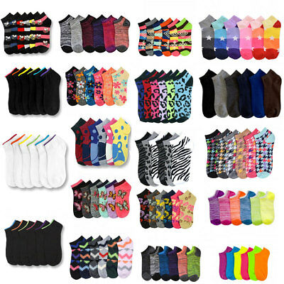 12~600 Women Ankle Socks Assorted Design Colors Noshow School Men Wholesale Lot - Women Wholesale