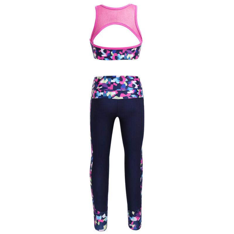 Mädchen Sport-Set Top und Leggings 2-teiliges Set für Gymnastik Jogging Training