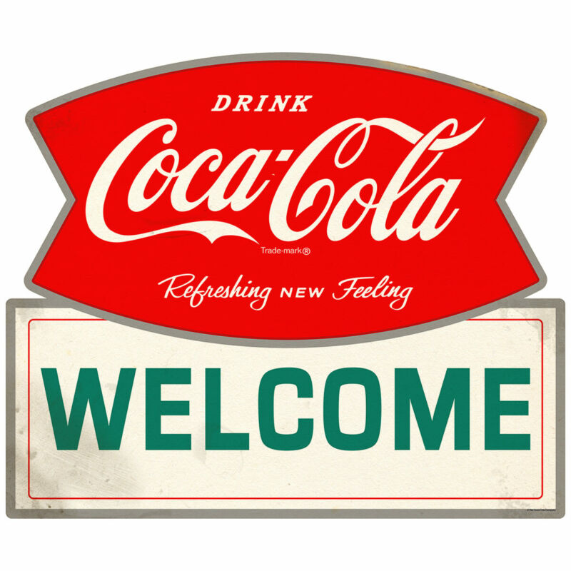 Drink Coca-Cola Welcome Fishtail Logo Wall Decal 24 x 20 Distressed Decor