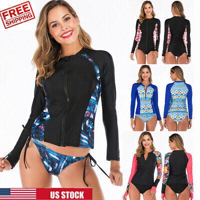 Women Long Sleeve UV Sun Protection UPF 50+ Rash Guard Two Piece Swimsuit