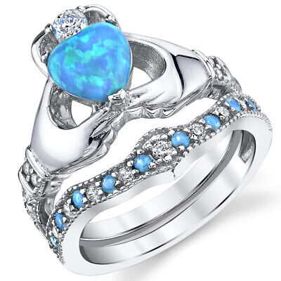 Sterling Silver 925 Claddagh Engagement Ring Bridal Sets Blue Simulated Opal Blue Opal Sterling Ring