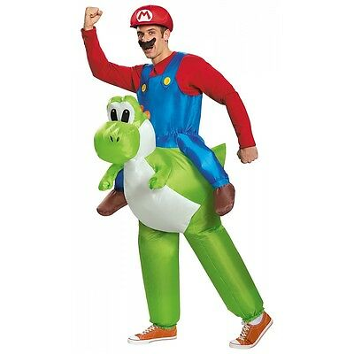 Mario Riding Yoshi Costume Adult Super Mario Brothers Halloween Fancy - Super Mario Yoshi Halloween Costume