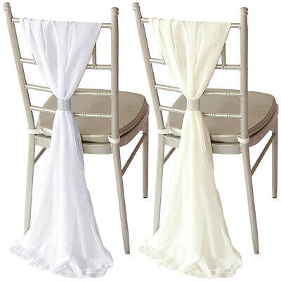 10x 75D Chiffon Chair Sashes Bow Table Runner Wedding Party Reception Decoration